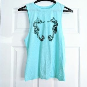 NEW Seahorse Graphic Teal Muscle Tank Top